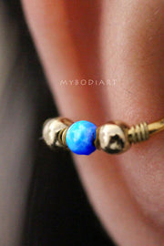 Cute Conch Ear Piercing Ideas for Women Blue Opal Ear Cuff Gold Earring 16G -  lindas ideas para perforar orejas - www.MyBodiArt.com