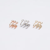 Nikita Triple Crystal Ear Cuff Earring in Rose Gold, Gold, Silver - www.MyBodiArt.com