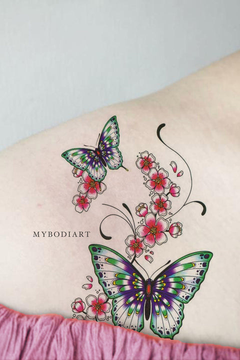 Beautiful Watercolor Butterfly Floral Flower Shoulder Temporary Tattoo Ideas for Women - butterfly shoulder tattoo ideas  Edit  butterfly shoulder tattoo ideas   ideas del tatuaje del hombro de la mariposa - www.MyBodiArt.com