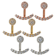 Fancy Classy Ear Piercing Ideas for Women - Halo Crystal Ear Jacket Earring Circle Stud and Bar  - www.MyBodiArt.com