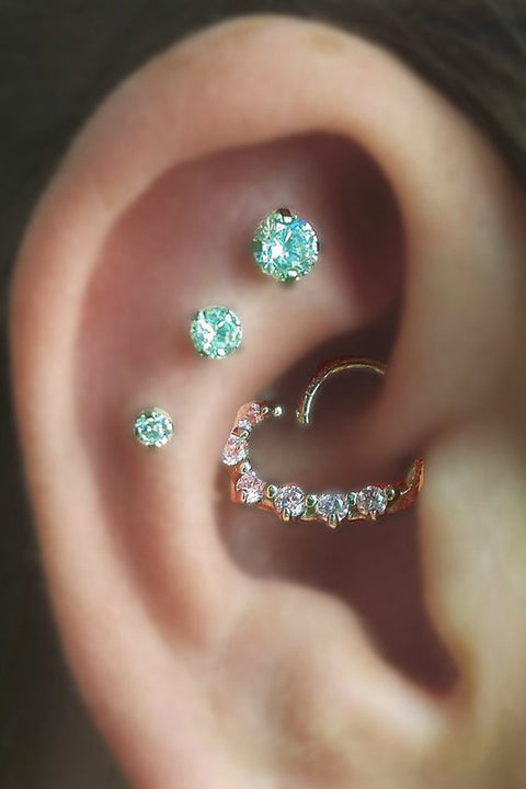 Cute Multiple Ear Piercing Ideas for Women - Rook Daith Crystal Heart Earring - Triple Cartilage Studs Jewelry - www.MyBodiArt.com #earrings
