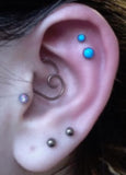 Turquoise Cartilage Earring -  Multiple Ear Piercing Ideas - MyBodiArt.com