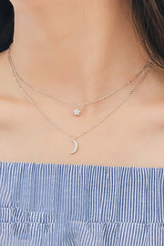 Alyra Dainty Double Layered Chain Star Moon Pendant Choker Necklace