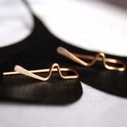 Minimalist Delicate Ear Piercing Ideas for Women - Handmade Wire Metal Heartbeat Ear Climber Earrings - www.MyBodiArt.com #earrings