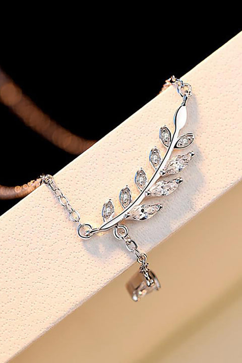 Ina Dainty Simple Crystal Leaf Lariat Chain Choker Necklace