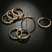 Cute Stackable Gold Rings Set Simple Chain Midi Cross Fashion Jewelry Ring - www.MyBodiart.com #rings