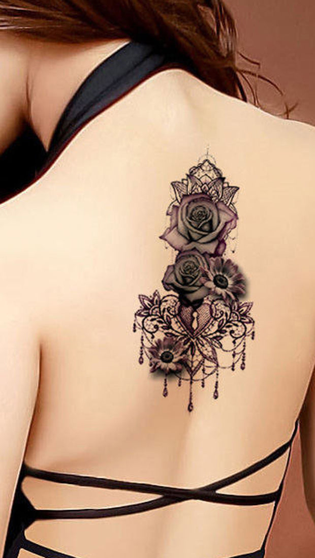 Gothic Rose Mandala Chandelier Back Tattoo ideas for Women - Traditional Vintage Cool Unique Geometric Black Floral Flower Sunflower for Spine - rosas góticas ideas de tatuajes para mujeres - www.MyBodiArt.com #tattoos