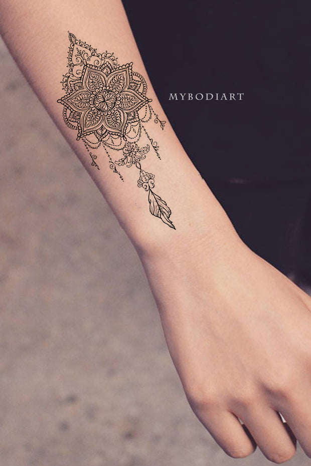 Tribal Boho Black Lace Mandala Chandelier Feather Arm Tattoo Ideas for Women - www.MyBodiArt.com