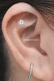 Simple Cute Opal Flower Cartilage Helix Ear Piercing Jewelry Ideas for Women -  idées de bijoux piercing oreille - www.MyBodiart.com #earrings