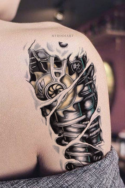 Unique Cool Robot Bionic Arm Sleeve Shoulder Temporary Tattoo Ideas for Men for Women - www.MyBodiArt.com