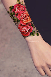Vintage Watercolor Realistic Rose Wrist Arm Tattoo ideas for Women -  Ideas de tatuaje de brazo rosa vintage para mujeres - www.MyBodiArt.com