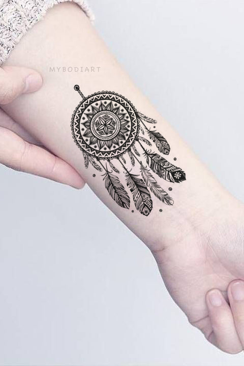 Cute Small Black Henna Mandala Dreamcatcher Wrist Tattoo Ideas for Women - www.MyBodiArt.com