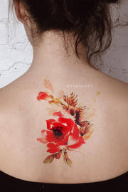 Beautiful Red Watercolor Floral Flower Back Temporary Tattoo Ideas for Women -  Linda flor de nuevo tatuaje ideas para mujeres - www.MyBodiArt.com