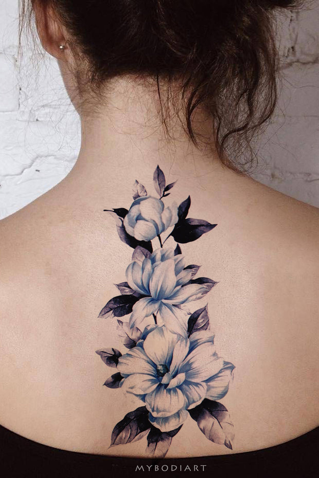 Cute Beautiful Blue Watercolor Floral Flower Back Tattoo Ideas for Women -  ideas de tatuajes de flores de acuarela azul - www.MyBodiArt.com #tattoos