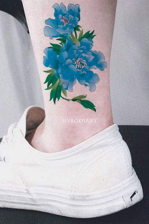 Realistic Watercolor Blue Ankle Floral Flower Temporary Tattoo Ideas for Women -  Ideas de tatuajes con hermosas flores florales azules para mujeres - www.MyBodiArt.com