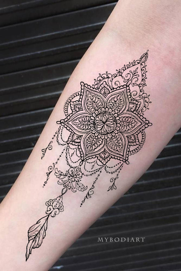 Tribal Boho Black Lace Mandala Chandelier Feather Forearm Tattoo Ideas for Women - www.MyBodiArt.com