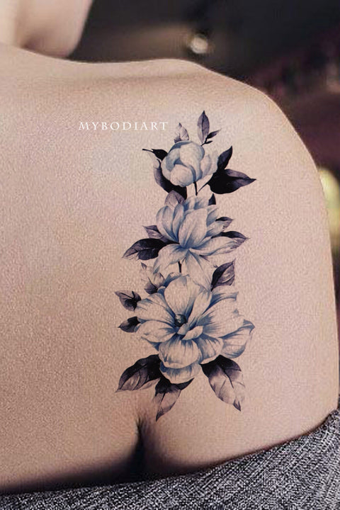Gabriella Blue Watercolor Floral Flower Temporary Tattoo
