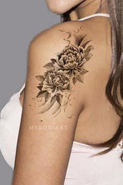 Cute Black Rose Flower Shoulder Tattoo Ideas for Women -  Ideas de tatuajes para mujeres -  www.MyBodiArt.com