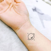Cute Small Delicate Planet Stars Moon Galaxy Space Wrist Tattoo Ideas for Women - www.MyBodiArt.com #tattoos