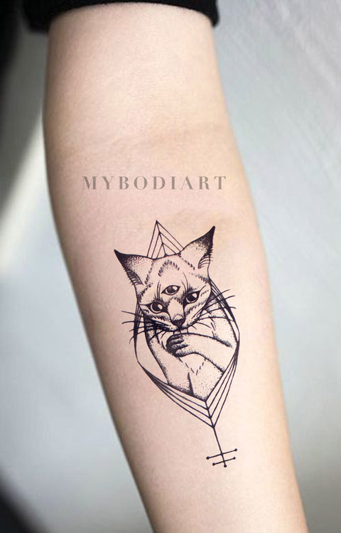 Tribal Egyptian Cat Forearm Tattoo Ideas for Women - Black Geometric Kitty Feminine Spirit Animal Arm Tat - www.MyBodiArt.com #tattoos