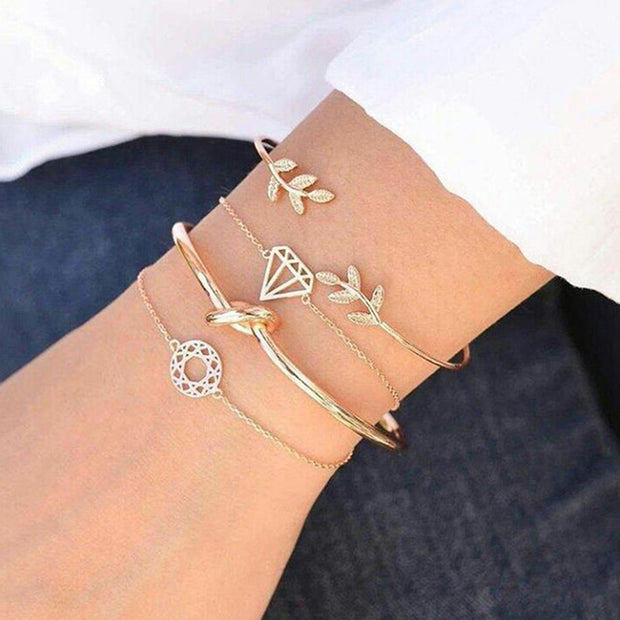 Angele Cute Leaf Knot Diamond Bangle Bracelet Set in Gold 4 Pieces