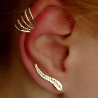 Cute Ear Piercing Ideas for Women Leaf Ear Climber Earring Rose Gold Ear Cuff - www.MyBodiArt.com