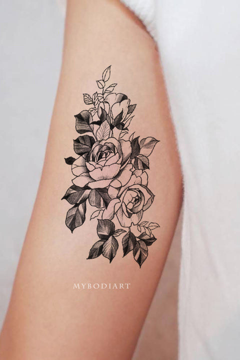Cute Black and White Floral Flower Rose Bicep Arm Tattoo Ideas for Women - www.MyBodiArt.com