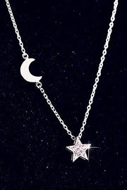 Cute Unique Moon Star Pendant Chain Choker Necklace Fashion Jewelry Ideas for Women -  collares lindos - www.MyBodiArt.com