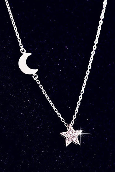 Siera Cute Dainty Floating Star Moon Silver Chain Choker Necklace