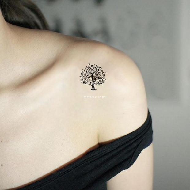 Willow Tree Shoulder Tattoos Ideas for Women - Minimalistic Simple Nature Tats - MyBodiArt.com