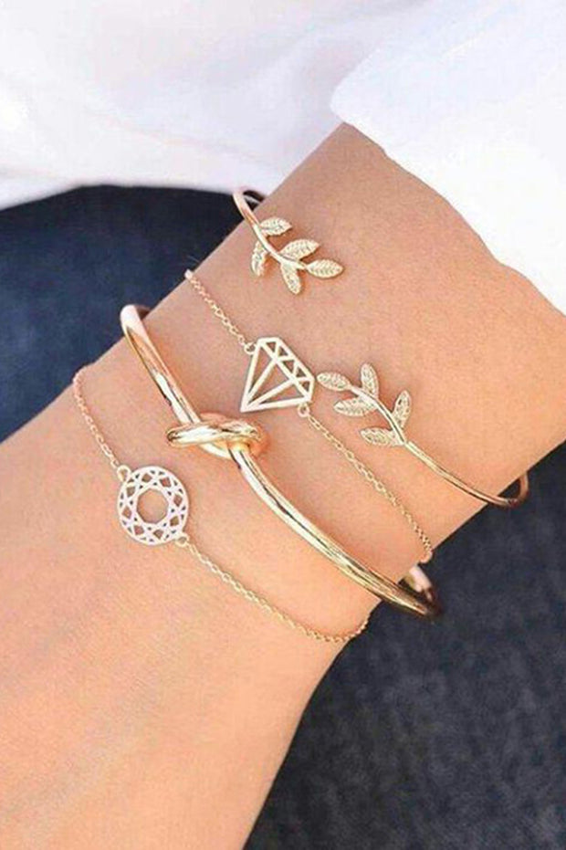 Cute Dainty Boho Bracelet Set Stacked Leaf Knot Bangle Chain Bracelets in Gold Summer Fashion Jewelry for Teens for Women - www.MyBodiArt.com #bracelets