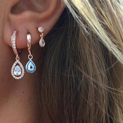 Cute Multiple Ear Piercing Ideas - Cartilage Helix Tragus Conch -  Bohemian Crystal Triple Earlobe Drop Earrings - www.MyBodiArt.com