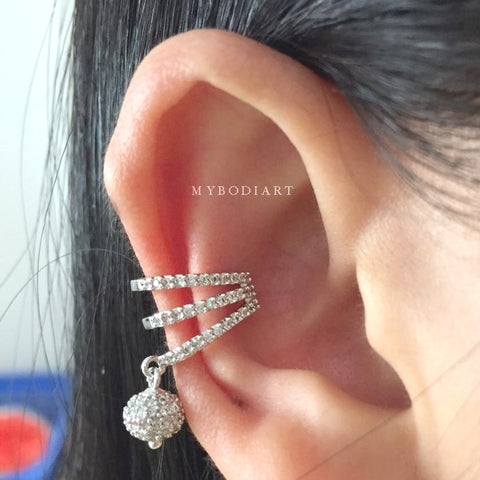 Cute Crystal Ball Dangle Ear Cuff Earring Fashion Jewelry for Cartilage, Helix, Conch Piercing -  lindas ideas para perforar orejas - www.MyBodiArt.com
