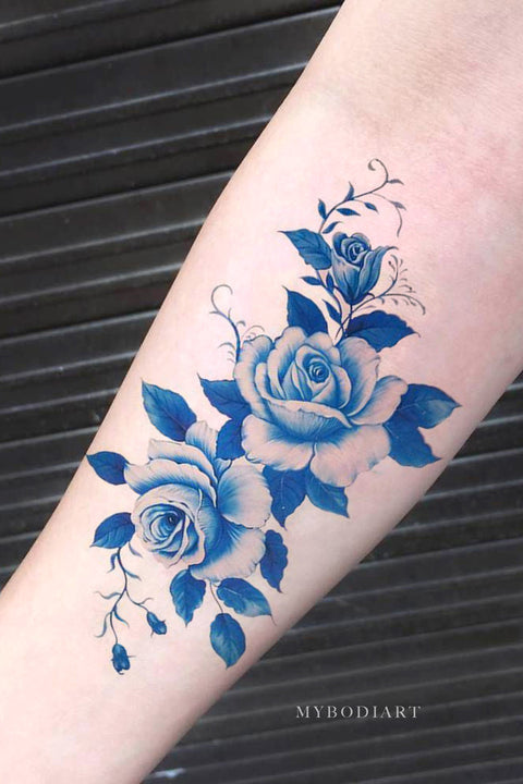 Vintage Watercolor Blue Forearm Temporary Tattoo Ideas for Women -  Ideas de tatuaje de brazo de acuarela azul para mujeres - www.MyBodiArt.com