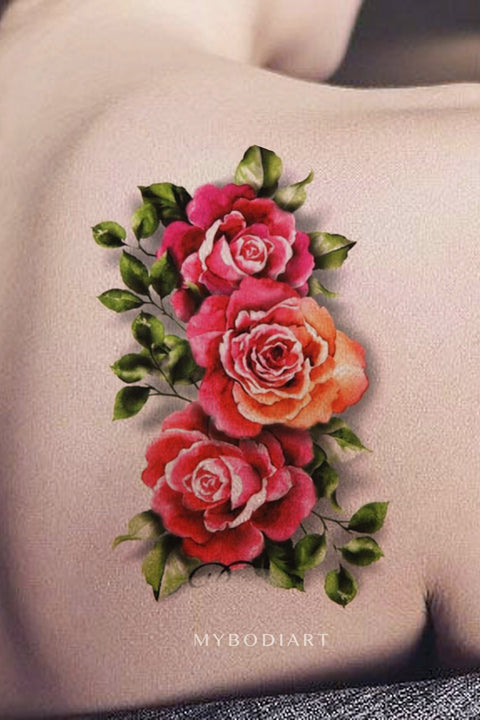 Vintage Watercolor Realistic Rose Shoulder Tattoo Ideas for Women -  Ideas de tatuajes de hombro rosa vintage para mujeres - www.MyBodiArt.com