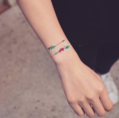 Small Watercolor Arrow Wrist Tattoo Ideas for Women - Cute Heart Arm Tat for Teen Girls - www.MyBodiArt.com #tattoos