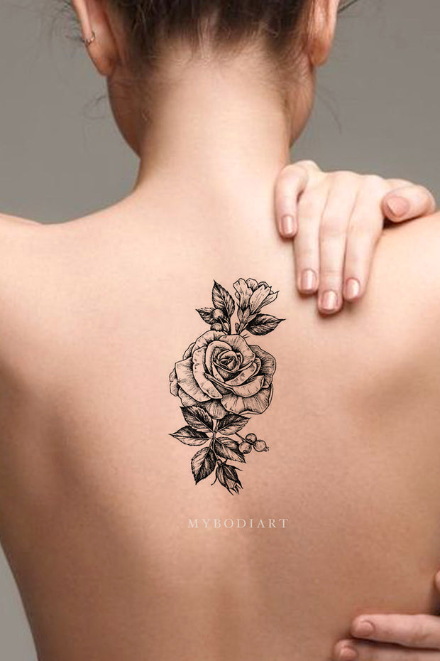 Bonita Vintage Realistic Black Floral Flower Rose Temporary Tattoos