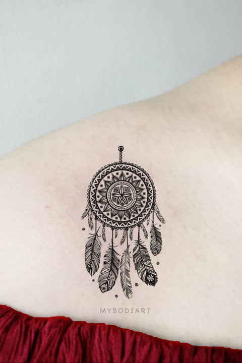 Tribal Boho Black Henna Mandala Dreamcatcher Shoulder Temporary Tattoo Ideas for Women -  Ideas de tatuaje de hombro para mujeres - www.MyBodiArt.com