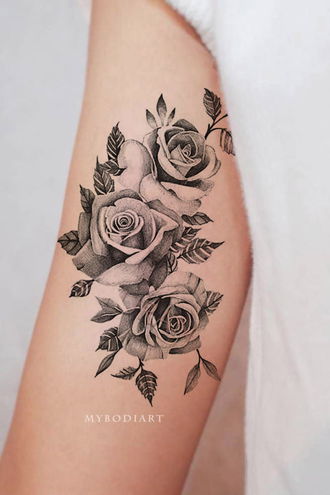 Cute Meaningful Black Vintage Black Floral Flower Rose Bicep Arm Tattoo Ideas for Women -  Ideas de tatuaje de brazo rosa para mujeres - www.MyBodiArt.com #tattoos