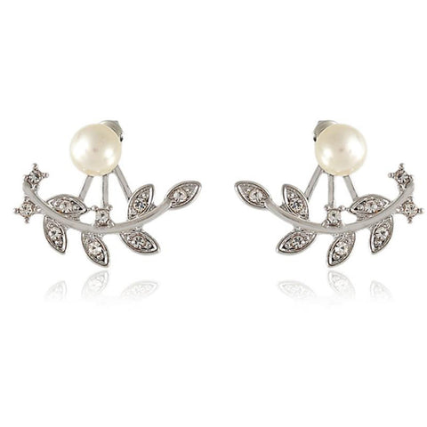 Cute Ear Piercing Ideas for Teens - Pearl Flower Ear Jacket Earring with Crystals In Silver - Statement Jewelry - lindo perla flor pendiente de la oreja - www.MyBodiArt.com #earrings