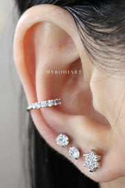 Cute Silver Ear Piercing Ideas for Women Crystal Flower Earring Studs for Cartilage Ea