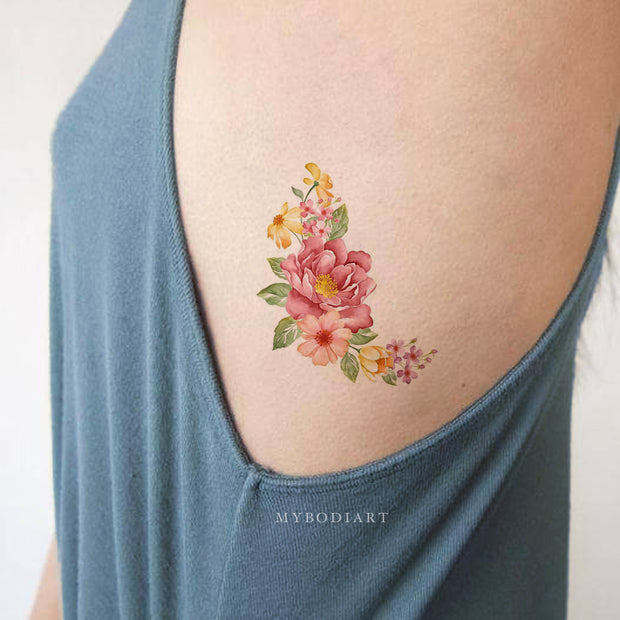 Beautiful Vintage Floral Flower Rib Tattoo Ideas for Women - www.MyBodiArt.com #tattoos