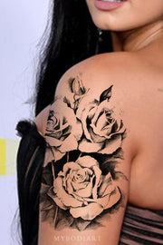 Trending Black Rose Flower Arm Sleeve Tattoo Ideas for Women -  Ideas de tatuaje de brazo de rosa negra - www.MyBodiArt.com