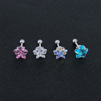 Star Crystal Ear Piercing Jewelry Ideas Earrings for Cartilage, Helix, Conch, Tragus, Earlobe - www.MyBodiArt.com
