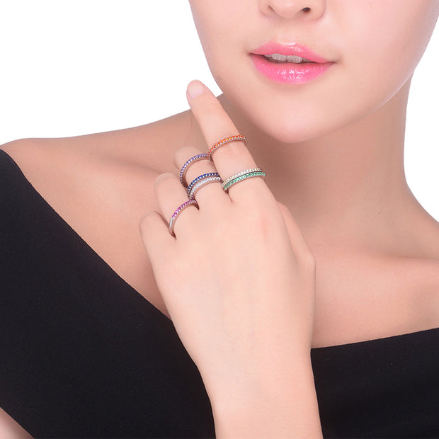 Cute Unique Simple Dainty Rainbow Pave Gemstone Crystals Band Rings Statement Fashion Jewelry for Women for Teens Girls in Silver - lindo delicado arco iris pavimenta los anillos - www.MyBodiArt.com