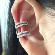 Cute Double Crystal Ear Cuff Earring Fashion Jewelry for Cartilage, Helix, Conch Piercing -  lindas ideas para perforar orejas - www.MyBodiArt.com
