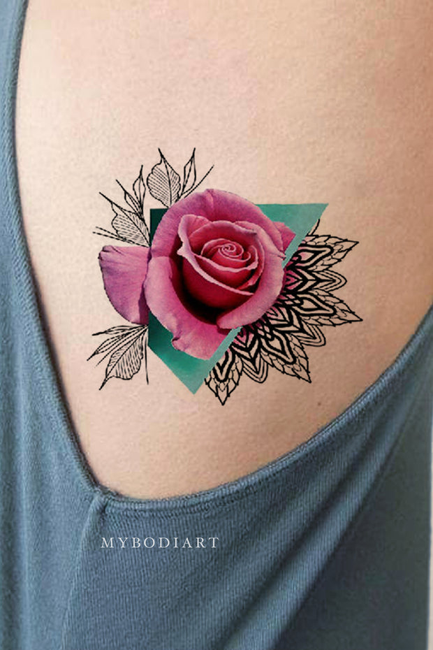 Unique Watercolor Pink Rose Tattoo Ideas on rib - Traditional Geometric Mandala Triangle Side Tat for Women - www.MyBodiArt.com #tattoos