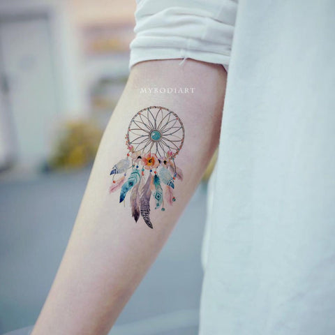 Beautiful Watercolor Dreamcatcher Tribal Boho Forearm Arm Tattoo Ideas for Women -  tatuaje del brazo atrapasueños - www.MyBodiArt.com #tattoos