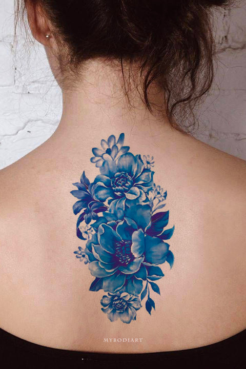 Cute Beautiful Blue Floral Flower Vintage Back Temporary Tattoo Ideas for Women - www.MyBodiArt.com #tattoos