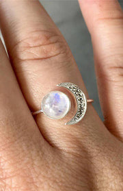 Pretty Moonstone Opal Moon Adjustable Ring Fashion Jewelry in Silver - anillo de luna opal para mujer  - www.MyBodiArt.com